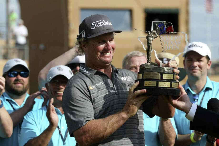 Charley Hoffman with Valero Texas Open trophy