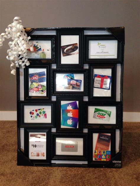 One of our basket raffle items  giftcards displayed in a