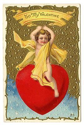 Vintage Valentine Clip Art   Cherub Riding Giant Heart