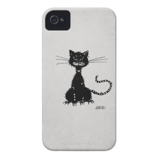 Stone Grey Ragged Evil Black Cat iPhone 4 Case
