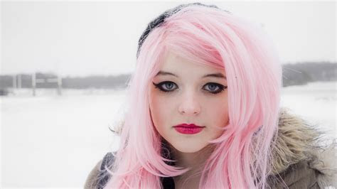 full hd wallpaper pink long hair winter mascara desktop