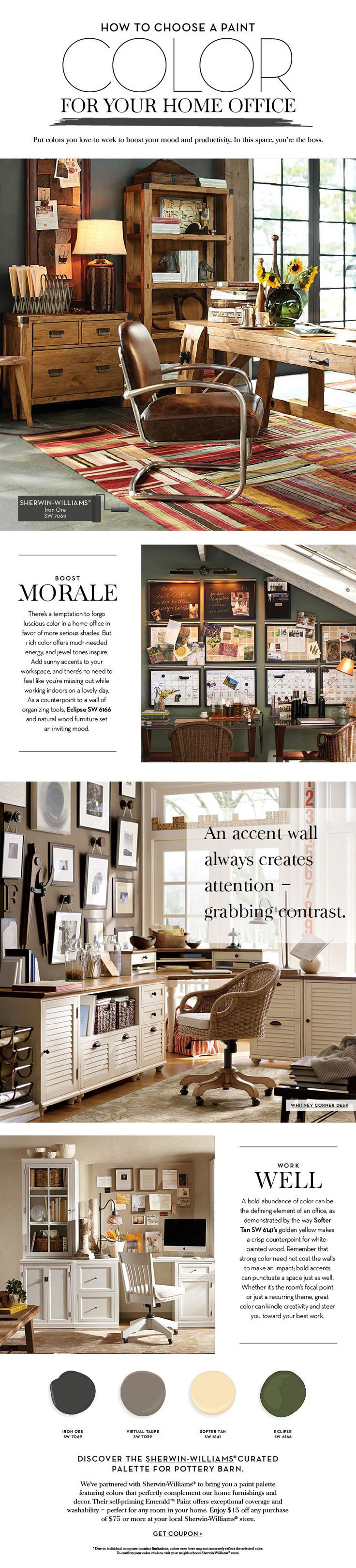 Choose a Paint Color For Your Home Office | Pottery Barn