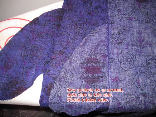 Sew Pocket Bags to Side Seam