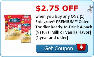 $2.75 off when you buy any ONE (1) Enfagrow® PREMIUM™ Next Step Ready-to-Drink 4-pack (Natural Milk or Vanilla Flavor) (1 year and older)