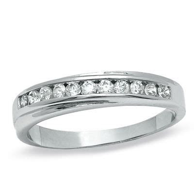 Cubic Zirconia Diagonal Channel Wedding Band in Sterling