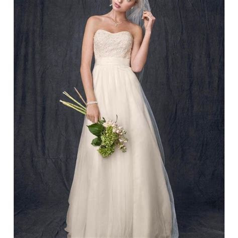 David's Bridal Ivory Champagne Beaded Lace and Tulle Gown