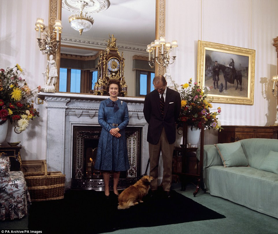 Untouched: A photograph of the Queen and the Duke of Edinburgh in the drawing room in 1976 reveals how much is the same