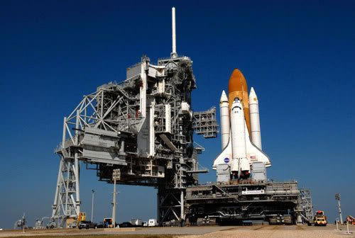 Rolling out of the Vehicle Assembly Building around 1:43 AM PST this morning, space shuttle ATLANTIS was officially secured at the launch pad around 8:51 AM PST today.  Its launch on mission STS-122 is still set for December 6.