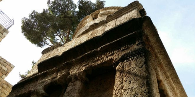 The Tomb of Absalom was damaged by fire. (Israel Nature and Parks Authority)