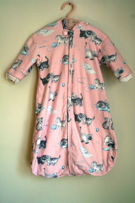 Vintage Pink Kitty Baby's First Winter Jacket sz 6M
