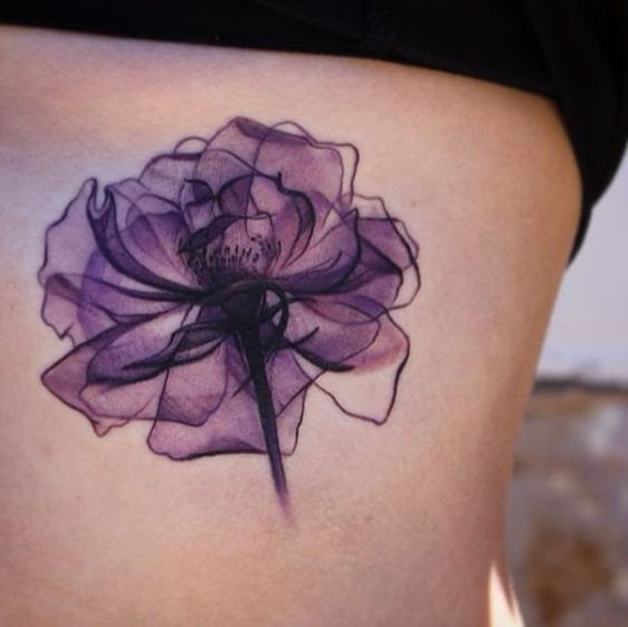 Violet Flower Watercolor Tattoo