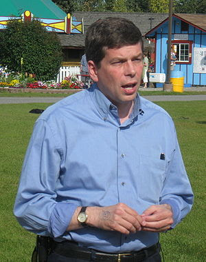 Mark Begich speaks to reporters at the Fairban...
