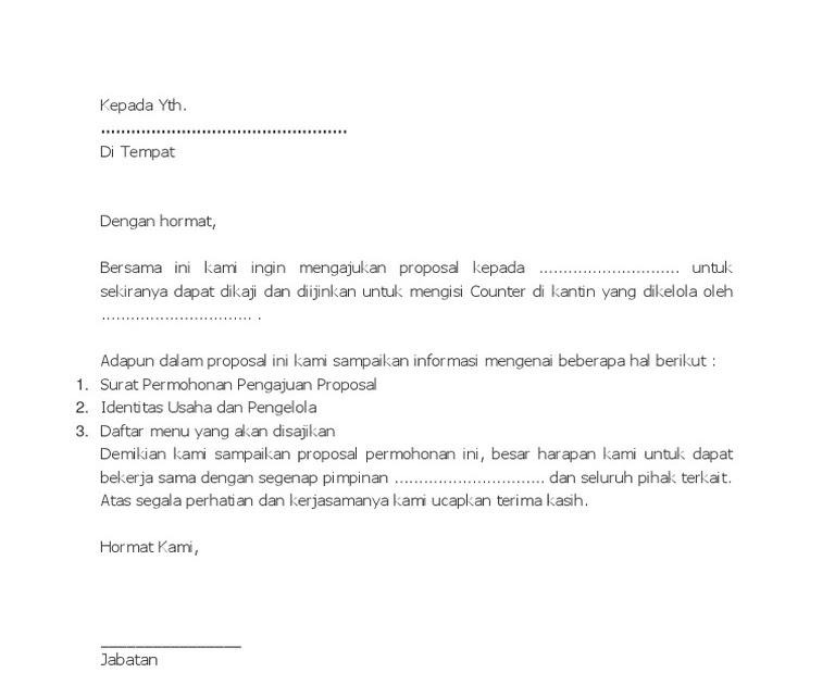 Contoh Surat Pernyataan Sewa Kantin