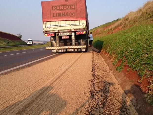 Carga de trigo se espalhou por rodovia após pneu de carreta estourar na BR-369 (Foto: Alberto D´Angele/RPC)