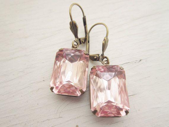 Bridal Jewelry Pink Earrings Dangle Earrings Pale by CRystalCRush