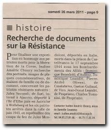 recherche des documents sur le résistant Dominique Benedetti