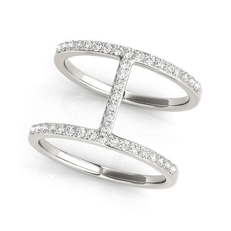 Thin Dual Band Diamond Ring in 14k White Gold (3/8 cttw