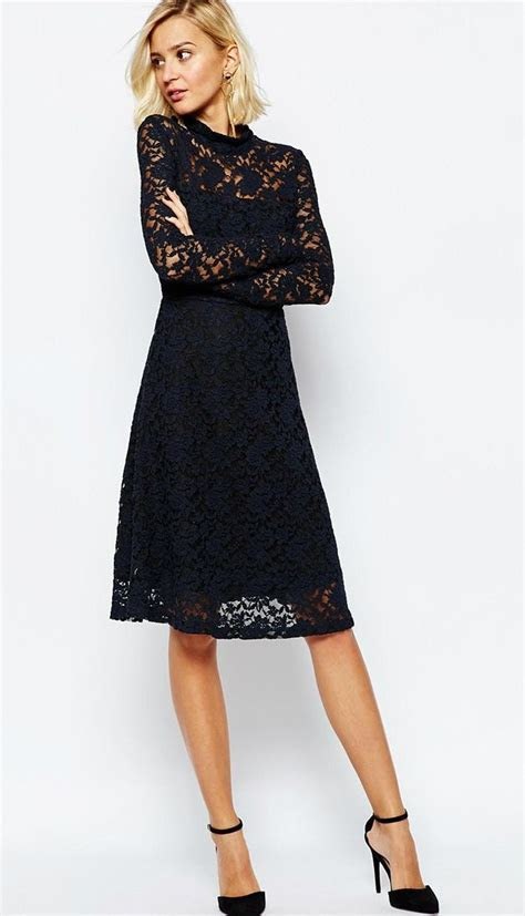 Navy blue long sleeve lace cocktail dress   ASOS   Wedding