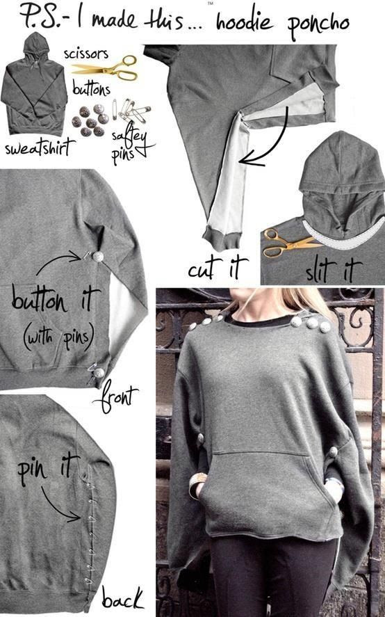 10 Useful DIY Fashion Ideas  (the one I pinned is a beautiful #Hoodie #Poncho #DIY)
