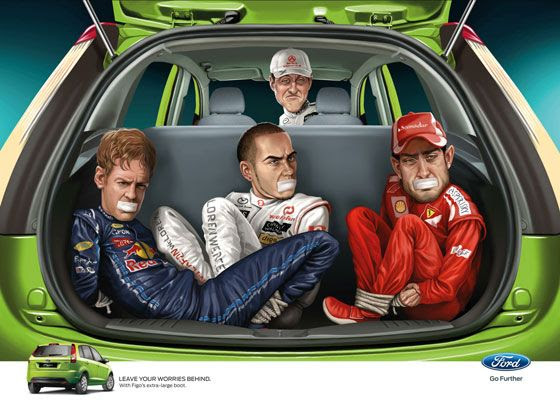 Leave your worries behind. With Ford Figo's extra-large boot. Ad With Michael Schumacher, Sebastian Vettel, Lewis Hamilton and Fernando Alonso