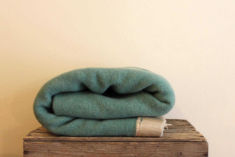 Vintage Wool Blanket - Blue Green Seafoam - HenriettaFetch