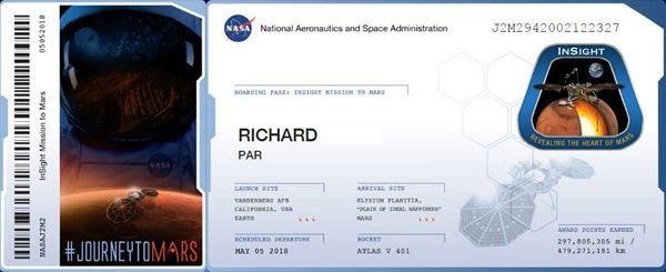 My participation certificate for NASA's InSight Mars mission.