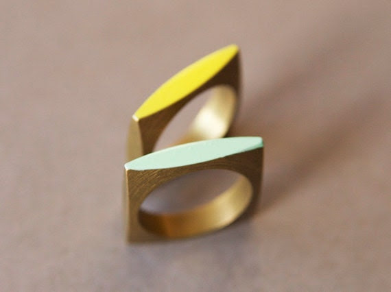 Neon Geometric Square Ring