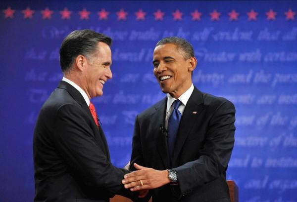 Obama, right, and Romney