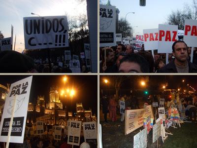 PAZ. Una marea de pancartas blancas con la palabra PAZ llenó el Paseo Recoletos y la calle Alcalá de Madrid. La gente se entusiasmaba con los lemas contra el PP y a favor de Zapatero. Aunque también se escucharon condenas al terrorismo de ETA