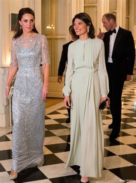 Kate wears ice blue Jenny Packham gown to Paris gala
