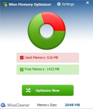 Wise Memory Optimizer default window