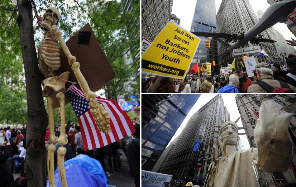 Manifestação do 'Ocupe Wall Street' em Nova York teve esqueleto, estátua da liberdade e até avião militar de mentira