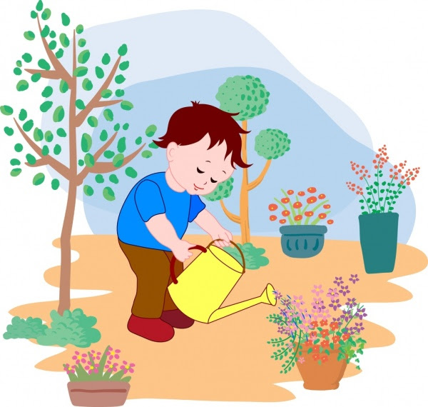 Little Boy Menyiram Bunga Latar Belakang Berwarna Kartun Dekorasi