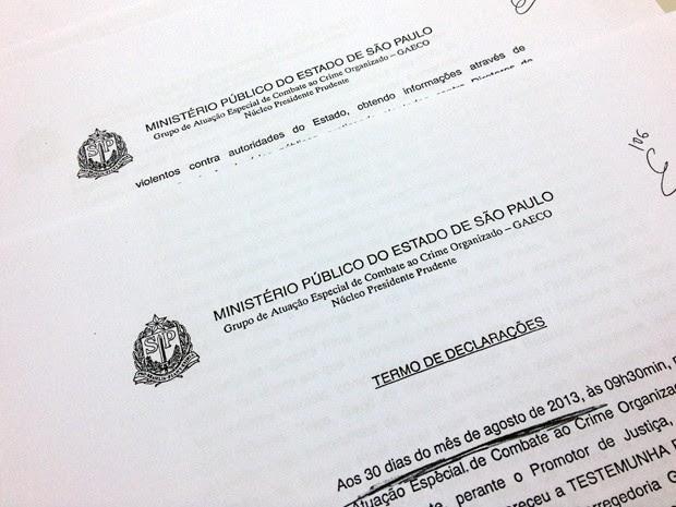 Depoimento foi dado ao Ministério Público em agosto deste ano. (Foto: Vinícius Pacheco/G1)