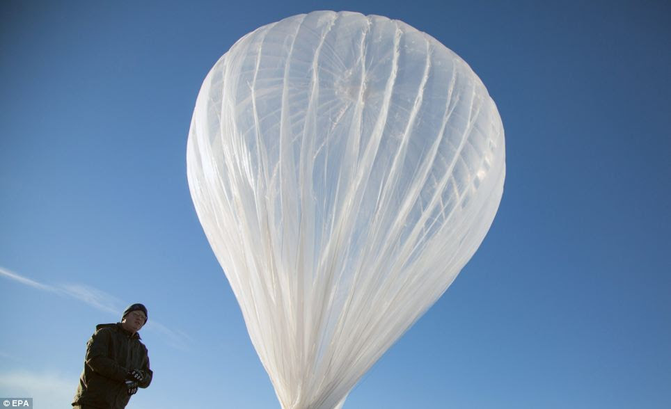 Google engineers studied balloon science from Nasa, the Defence Department and the Jet Propulsion Lab to design their own airships made of plastic films similar to grocery bags