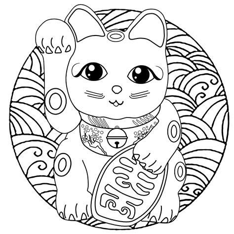 maneki neko mandala malas adult coloring pages