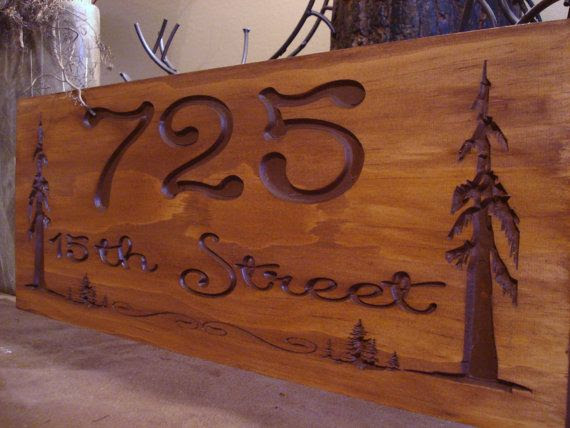 Carved   redwood Signs Primitive  Forest Redwood rustic Address wood signs Pine Tree Rustic