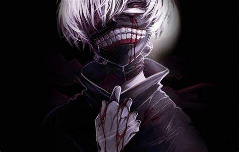 oboi fon krov maska paren anime art tokiyskiy gul