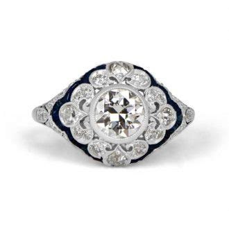 Diamond and Sapphire Engagement Rings   Estate Diamond Jewelry
