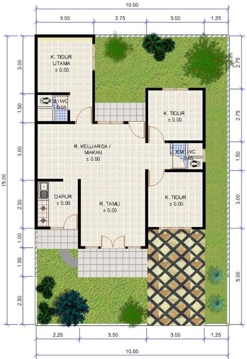 100 Denah Rumah Minimalis Type 45 Satu Lantai 3 Kamar