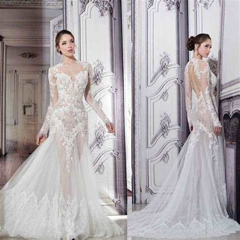 Pnina Tornai Sheer Wedding Dresses 2015 Illusion Crew Neck