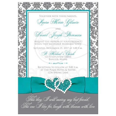 Aqua, White, Grey Damask PHOTO Optional Wedding Invite