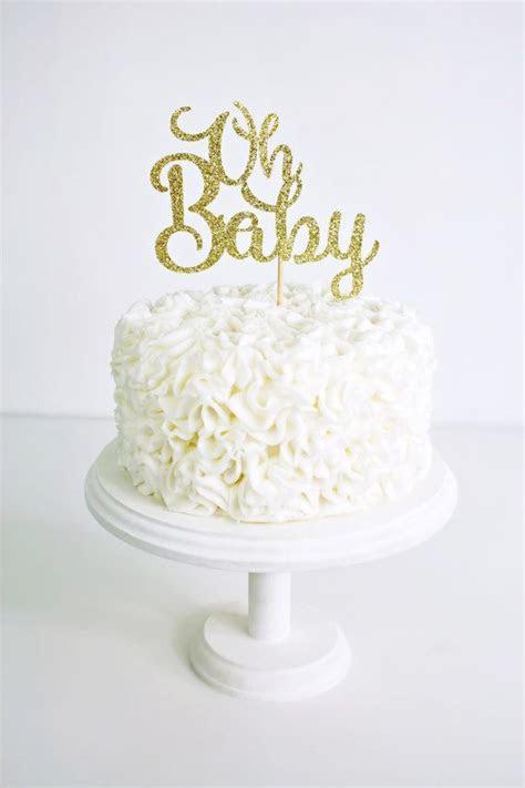 Gold Glitter Oh Baby Cake Topper   Handmade Cake Topper