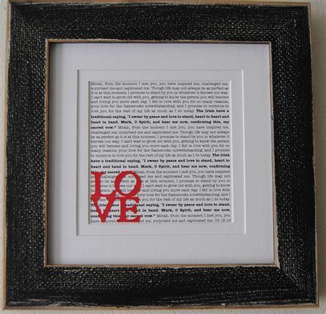 Wedding Vow Art/ Printed Wedding Vows/ Framed Wedding Vows