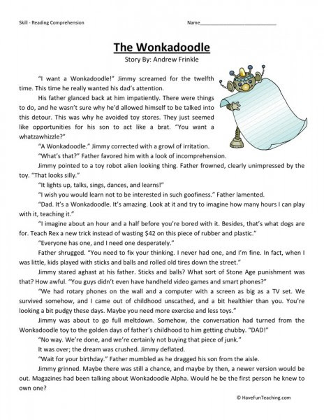 Reading Prehension Worksheet The Wonkadoodle