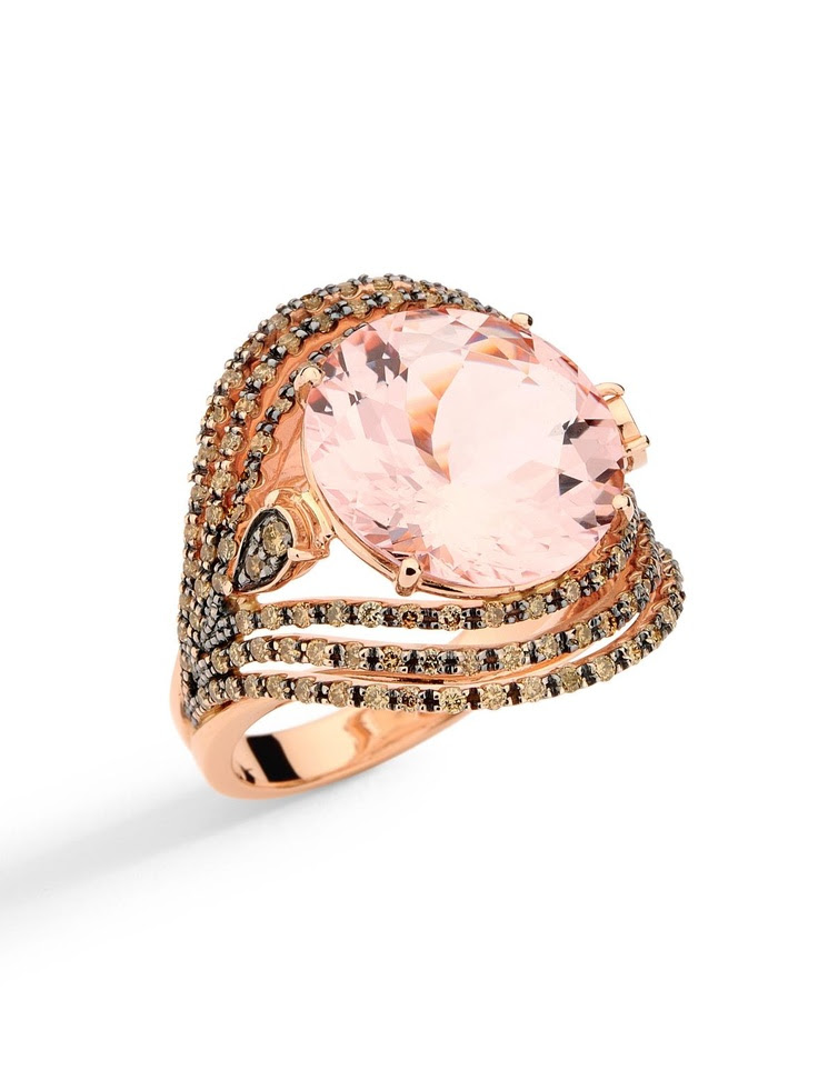 Brumani - Diamond Framed Morganite Ring