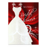 Bridal Shower in Red Silky Satin 5x7 Paper Invitation Card