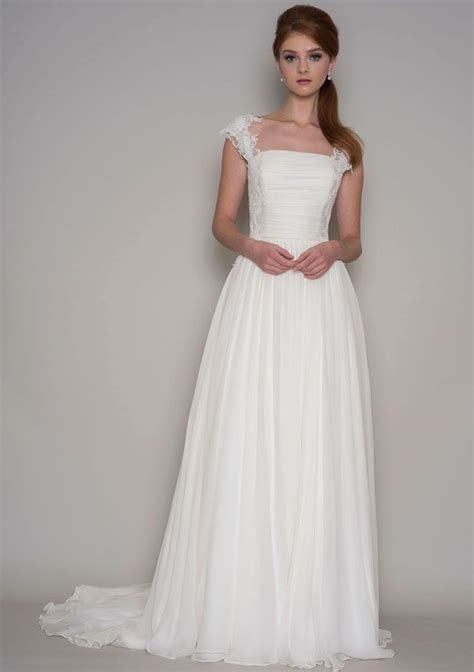 Ruched Bodice Cap Sleeves Stunning A line Chiffon Lace