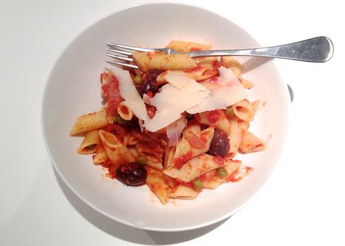 chorizo and olive pasta