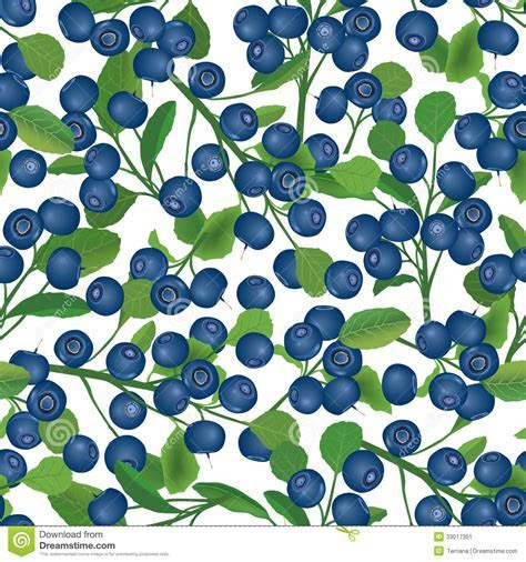Blueberry Seamless Background. Ripe Red Cranberries With